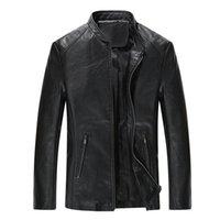 ingrosso abiti mk-Giacche in pelle da uomo Uomo Stand Collar Cappotti Giacca moto in pelle da uomo Casual Slim Brand Abbigliamento MK-164