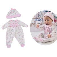 ingrosso pizzo rosa della bambola della bambola-Lovely Pink Lace Trim collare tondo Pagliaccetti cappello vestiti per 17-18 pollici Reborn Baby Girl Doll completo Look Outfit