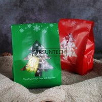 Wholesale package cookies for gifts online - 2500pcs Red Green Frosted Christmas Tree Candy Gift Bags Cookie Packaging Bags For Snack Xmas Decor