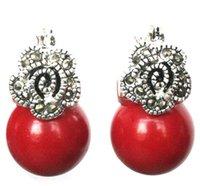красные коралловые серьги оптовых-Леди 12мм красный коралловый марказит цветок и 925 серебряные серьги серьги
