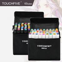 plumas de alcohol al por mayor-Nuevos marcadores de arte TouchFIVE de 60 colores con doble cabezal Conjunto de bocetos de artista Marcadores a base de alcohol aceitoso para animación Bolígrafo de lujo Manga útiles escolares