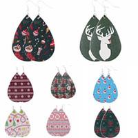 Wholesale new style long earrings resale online - 34 style New Dangle Drop Earrings Enthic Bohemia Christmas Tree Snow Deer Long Pu Leather Earrings For Women Girl Christmas Gift Wholesal