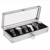 ingrosso inserti di scatola-Watch Box 6 Grid Insert Slot Jewelry Watches Display Scatola di immagazzinaggio Cassa in alluminio Decorazione di gioielli Winder
