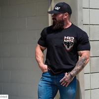 kaslı erkekler tişörtü toptan satış-Pamuk T-Shirt Kısa Kollu Kas Köpek Baskılı Erkekler Tshirt Casual O-Boyun Tasarımcı T gömlek Erkekler Için Tees Tops