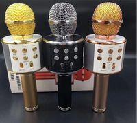 ktv home al por mayor-Micrófono de karaoke portátil de mano Mini Bluetooth WS858 USB para hogar KTV alta sensibilidad