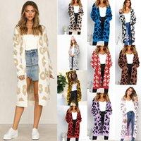 kadın noel kazak toptan satış-Noel Kadınlar Örme Hırka Leopard Baskı Kadın Hırkalar Uzun kollu yün Uzun Hırka Kazak kürk giyim Sweatershirt LJJA3268