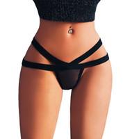 seksi mini sicim tanga toptan satış-Seksi bandaj g string thongs kadın külot Sexy Lingerie Mesh G-string Külot İç Külot dikişsiz iç çamaşırı knickers #