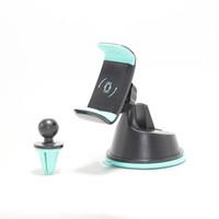 porta móvel rotativo venda por atacado-2 em 1 suporte de montagem do telefone do carro pára-brisa air vent 360 rotativa ajustável kickstand para celular telefone celular gps hha224