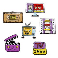 Wholesale show pins resale online - Creative TV Screen Brooch Style Cartoon Tv Show Videotape Fun Alloy Purple Film Brooches Women Decorative Needle Pin DHL