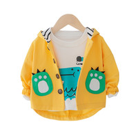 şirin uzun katlar toptan satış-İlkbahar Sonbahar Bebek Erkek Kız elbise Sevimli Dinozor Pamuk Uzun Kollu Ceket Çocuk Bebek Bebek Karikatür Ceket Ince Kapüşonlu Dış Giyim