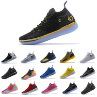 Wholesale kevin durant size orange basketball shoes resale online - 2019 New Arrival Kevin Durant Basketball Shoes Mens KD XI Gold Championship MVP Finals Sports training Sneakers Run Shoes Size