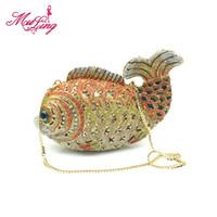 elmas şekilli kristaller toptan satış-Kaliteli kristal hayvan mücevherli balık şekli elmas çanta akşam manşonlar kadınlar gelin düğün çanta cüzdan çantalar