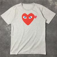 cor dobro camiseta venda por atacado-22 cor Top Quality Men Wome duplo coração DES play GARCONS CDG Bordado Único vermelho de Ouro coração de Manga Curta olhos T-shirts polos Y-3 Tee