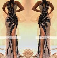 cuello de encaje negro al por mayor-2019 Sexy Halter Lace Beading Mermaid Vestidos de baile Cuello alto Frontal Dividir Negro Applique Vestidos de noche Ocasión especial BC0493