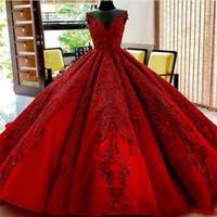 línea árabe vestidos de fiesta al por mayor-Imagen real 2020 Dark Red A Line Vestidos de baile con apliques de encaje Sweetheart Chapel Train Lace Up Vestidos de novia para las mujeres árabes