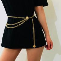 cadena de la cintura para las niñas al por mayor-Cinturón de diseño Cadera de cintura alta Oro Estrecho Cadena de metal Chunky Fringes Retro Cinturón Cinturones para el vientre Cinturón para mujeres Niñas DHL GRATIS