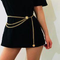 kızlar için bel zinciri toptan satış-Tasarımcı Kemer Kalça Yüksek Bel Altın Dar Metal Zincir Tıknaz Saçaklar Retro Kuşak Göbek Zincirleri Kemer Kadın Kızlar için Ucuz DHL ÜCRETSIZ