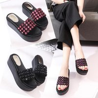 aa7ffad7b29e crystal sandals thick heels NZ - SAGACE Shoes Flip flops lady Fashion Solid  Color Crystal Thick