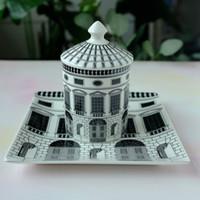 Wholesale ceramic housings resale online - Retro Fornasetti Neuschwanstein Castle House Decorative Candle Holder Fornasetti Plate White Black Geometric Lines Home Decor SH190924
