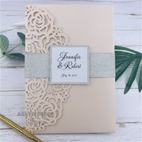 Wholesale free chinese new year cards resale online - Fancy Blush Laser Wedding Invitation Card With Customized Tag glitter Belly Band Insert And RSVP Card Free Design