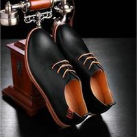 resmi spor ayakkabılar toptan satış-Moda Erkek İş Ayakkabıları Deri Resmi Elbise Ayakkabı Flats siyah oxfords Man casual sneaker artı büyük BOYUTU 48 LM-09