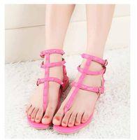 Wholesale dress stone color resale online - 2019 Color Rivets Spiked Gladiator Flat Sandals Stones Studded Flip Sandal Big Size Designer Women s Cheap Shoes Summer