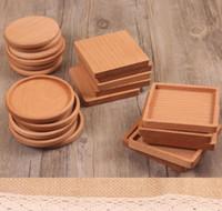 hölzerne bierdeckel großhandel-Holz Untersetzer Holz Holz wärmeisoliert Pad Tee Tasse Pads Isolierte Trinkmatten Teekanne Tischsets GGA2389