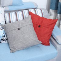 Wholesale quality cotton textiles resale online - Simple Button Linen Pillowcase Pure Office Sofa Cushion Cover High Quality Nordic Style Home Textile mg Ww