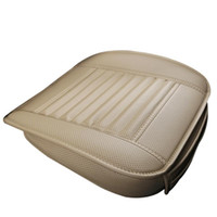 Wholesale bamboo seat covers resale online - Four Season Single Seat without Backrest Leather Bamboo Charcoal Car Seat Cushion Car Cover Protective Cover