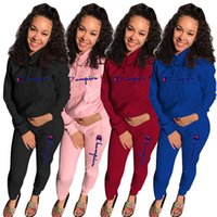 Wholesale pink jackets outfits for sale - Group buy Champions women plus size tracksuit brand piece set tshirt pants gym sweatsuit hoodies leggings outfits jacket bodysuits sportswear