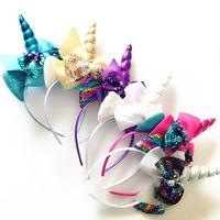 plastikbögen für haare großhandel-Kinder Haarband Zubehör zweifarbige Fischschuppe Einhorn Colorblock Stirnband Hair Sticks Kunststoff Bogen Mischung Haarnadeln 4