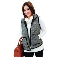 mujeres chaleco de espiga al por mayor-Gran bolsillo otoño invierno sin mangas de algodón para mujer casual chaquetas denim negro chaleco de espiga de algodón acolchado soplador chaleco