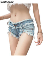 горячее сексуальное женское бедро оптовых-High Quality Women Runway Beaded Tassel Denim Shorts 2019 Newest Summer Designer Ladies Tight Package Hip Sexy Hot Short Pants