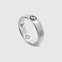 breite bandringe für frauen großhandel-Neue Ankunft S925 reines Silber Ring Zeichen Charme Band Ring mit Worten für schmale Frauen und breite Mann Modeschmuck Geschenk Drop Shipping PS6496