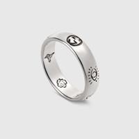 ingrosso anelli di fascia larga per le donne-Nuovo arrivo S925 anello d'argento puro anello di fascione di fascino con le parole per le donne strette e ampio regalo di gioielli moda uomo goccia Drop PS6496