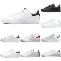 sapatos de esporte de couro branco venda por atacado-Adidas 2019 novo stan smith sapatos casuais dos homens das mulheres preto branco verde liso plataforma de couro dos homens formadores sports sneakers sapato ao ar livre