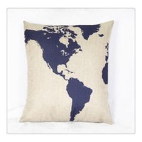 funda de almohada mapa al por mayor-Funda de cojín Funda de almohada Funda de almohada Throw Pillow Zehui Square Funda de cojín decorativa de moda Funda de almohada Captain Blue Map