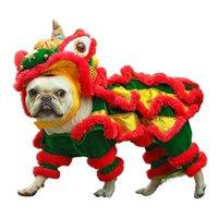 gato corgi venda por atacado-Engraçado do animal de Estimação Cão Gato Traje Roupas de Dança Do Leão Chinês Terno Para Bulldog Francês Pequeno Médio Cães Corgi Ano Novo Vestir Vestuário Y19061901