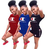 Wholesale girls leopard tracksuits resale online - Letter Print Champions Women Tracksuit Summer Shorts Set Short Sleeve V neck T shirt Shorts Piece Outfits Sportswear Joggers S XL C3271