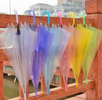 regenschirm sexy großhandel-Clear Bubble Umbrella Transparente Kuppel Winddichte Regenschirme Erwachsene Regen Haube Baldachin Totes Hochzeit Party Decor Golf Regenschirme 7 Farben A423
