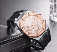 homens assistem esportes grandes venda por atacado-Relogio masculino 42mm estilo militar esporte relógios grandes homens 2019 designer de moda de luxo preto dial único silicone grande relógio masculino