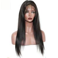 парик бразильский прямой без глют оптовых-100% бразильские волосы девственницы полный бахрома парик человеческих волос Glueless парики фронта шнурка с челкой прямые полные парики шнурка