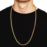 высококачественная титановая цепь оптовых-3MM Titanium Steel Silver Gold Men's Necklace Twist Chain Long Necklaces Gifts For Women Collier Jewelry Accesory High Quality