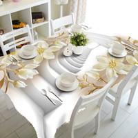 3d masa örtüsü toptan satış-3D Masa Örtüsü Avrupa Oyma Çiçekler Desen Su Geçirmez Kumaş Kalınlaşmak Dikdörtgen Düğün Masa Örtüsü Ev Tekstili Masa Örtüsü