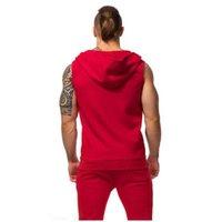 colete homens hoodie venda por atacado-Agradável Algodão Moletom Com Capuz Camisolas Roupas de Fitness Musculação Regata Dos Homens Sem Mangas Tendência Tees Camisa Casuais Golds Vest