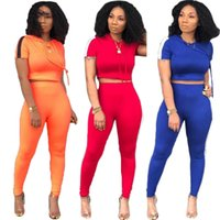 Wholesale cycling clothing sell for sale - Group buy Womens clothing short sleeve outfits two piece set sexy hot selling tracksuit jogging sport suit sexy fashion tights sport suit klw0516