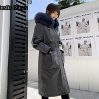 Wholesale rabbit fur pelts resale online - New Arrival Long Rex Rabbit Fur Lining Parka Coat With Natural Fox Hooded Premium Frosty Style Warm Thick Casual Woman s Coat T191109