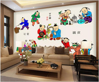 Wholesale ancient chinese painting resale online - WDBH d wallpaper custom photo Chinese ancient boy girl background wall painting Room home decor d wall murals wallpaper for walls d