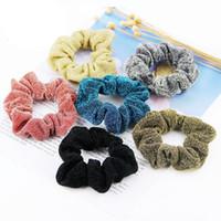 Wholesale ponytail korean women resale online - 1pcs New Ponytail Holder Solid Hairband Hair Accesories Korean Glitter Ladies Scrunchie Hair Rope Fashion Women Ties