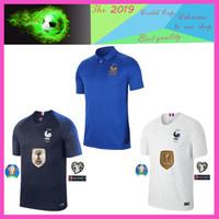 uniformes de football gratuits achat en gros de-nouveau Livraison gratuite 2019 2020 France maillot de football POGBA GRIEZMANN MBAPPE 100e Jersey 19 20 Thaïlande top qualité 18 19 uniforme de football S-XXXL